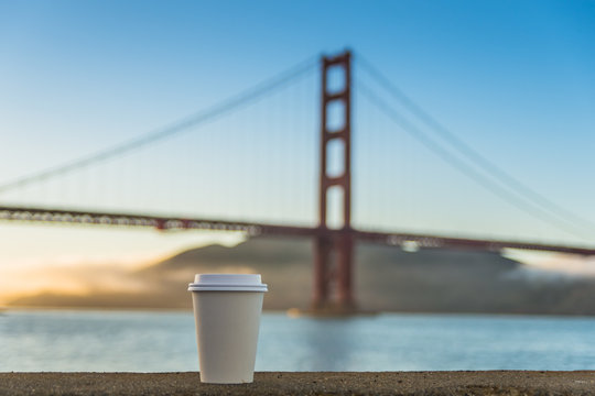 Golden coffee at the golden gate bridge of San Francisco