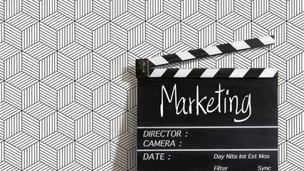 Marketing text title on film slate. for video marketing  development people