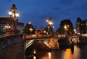 Blauwbrug - Blue Bridge - over Amstel river in Amsterdam. Netherlands