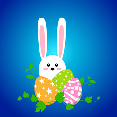 White easter rabbit with eggs. Funny bunny in flat style. Easter Bunny. On blue winter background. Colorful Happy Easter greeting card. Vector illustration.