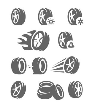 Vector black tire