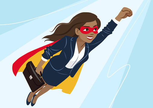 Young African-American superhero woman wearing business suit and cape, flying through air in superhero pose, on aqua background. Vector cartoon character illustration, business, achievement, goals.