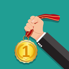 Hand holding medal,Businessman hand holding medal, First place, Flat vector illustration.He was awarded the rank 1.Winner concept.