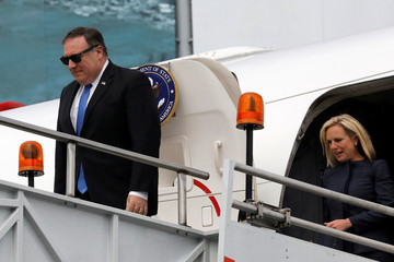 U.S. Secretary of State Mike Pomeo and U.S. Homeland Security Secretary Kirstjen Nielsen arrive at Benito Juarez International airport in Mexico City