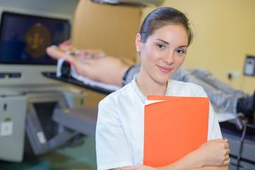 Portrait of nurse in radiology unit