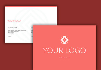 Business Contact Card Layout with Pink Accents