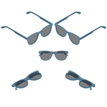 Vector isometric flat hipster sunglasses retro set
