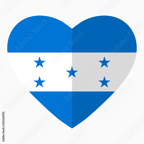 Flag Of Honduras In The Shape Of Heart Flat Style Symbol Of Love