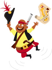 Printed roller blinds Wild West Happy pirate jumping and throwing a treasure map in the air, EPS 8 vector illustration