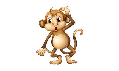 Monkey funny cartoon character mascot design