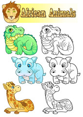 cartoon african animals, set of funny images