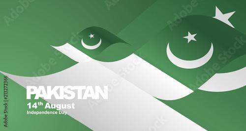 Pakistan Independence Day flag ribbon landscape background