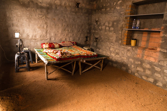 Simple family bedroom of people in Hampi, India.