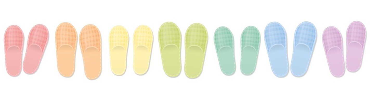 Guest slippers. Rainbow colored collection for the whole family, for guests, for shared student flat or any happy people or welcoming community. Isolated vector illustration on white background.