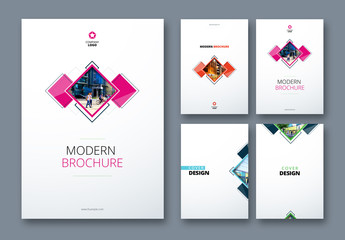 4 Brochure Cover Layouts with Geometric Elements