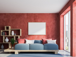 Red wall living room interior, gray sofa, poster