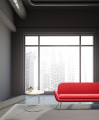 Industrial style living room, red sofa