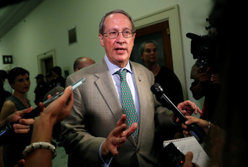 House Judiciary Committee Chairman Bob Goodlatte (R-VA) answers questions from news media before the arrival of FBI lawyer Lisa Page for her transcribed interview with the House Judiciary and Oversight Committees in Washington