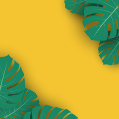 Summer Advertising Banner Template with Monstera Leaves