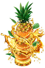 Slices of Orange and Pineapple into of splashes of juices