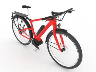 Red E Bike isolated