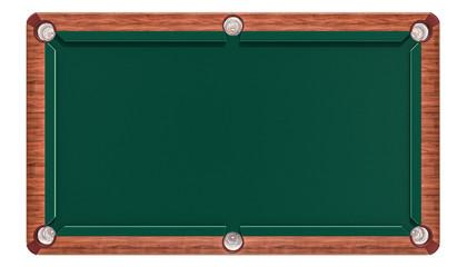 Empty green billiard table, top view. 3D rendering