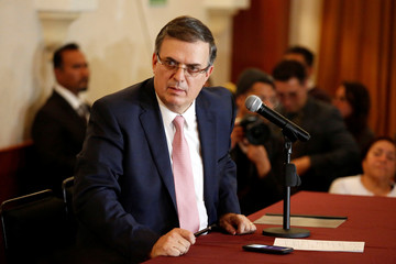 Marcelo Ebrard, designated foreign minister of Mexico's president-elect Andres Manuel Lopez Obrador, holds a news conference after a meeting with U.S. Secretary of State Mike Pompeo and other U.S. top officials, in Mexico City