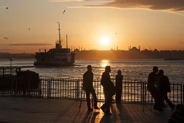 Sunset silhouettes in Kadikoy, istanbul