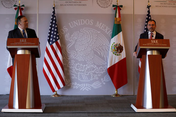 U.S. Secretary of State Mike Pompeo and Mexico's Foreign Minister Luis Videgaray deliver a joint statement in Mexico City