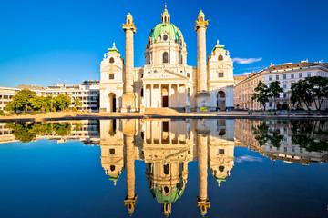 Keuken foto achterwand Wenen Karlskirche church of Vienna reflection view