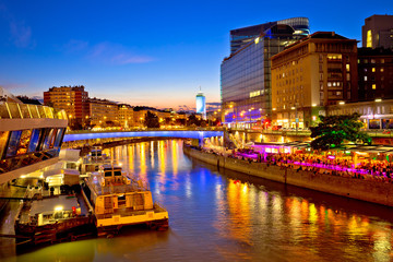 Self adhesive Wall Murals Vienna Vienna city modern riverfront evening view