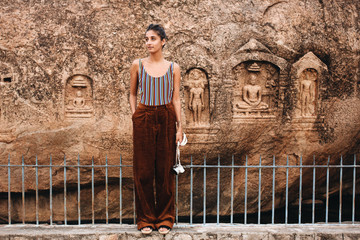 Woman standing near temple