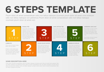 Infographic Layout with Multicolored Step Headers