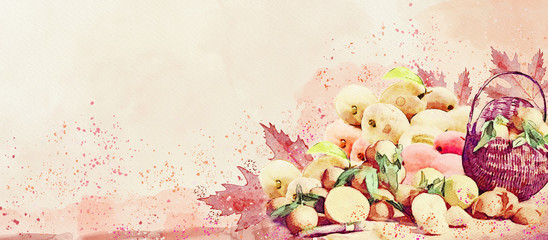 Harvest fruits. Watercolor autumn background