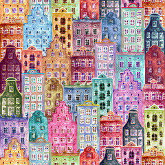 Seamless pattern of watercolor old europe houses