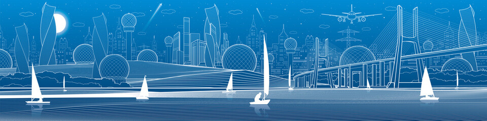 City infrastructure panoramic illustration. Big bridge across river. Sailing yachts on water. White lines on blue background. Vector design art