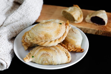 Bakery homemade,Curry puff on white plate.