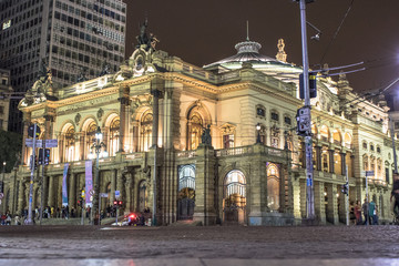 Sao Paulo, Brazil, March 23, 2017. Municipal theater of Sao Paulo at night. Built in 1903 and opened in 1911, with the opera Hamlet, of Ambrose Thomas,