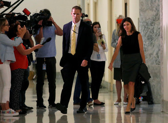 FBI lawyer Lisa Page leaves after a day of giving a transcribed interview with the House Judiciary and Oversight Committees in the Rayburn House Office Building in Washington, U.S.