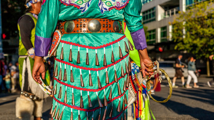 Seattle Washington, USA. 29. 07. 2017. Native American Indian. Close up of colourful dressed native Indian woman.