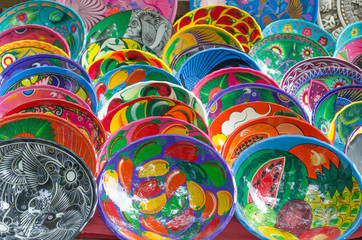Mexican art pieces saucers