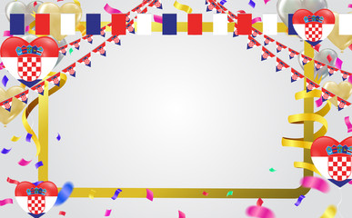Croatian flags and Croatian balloons garland with confetti on white celebration background template with confetti and ribbons.