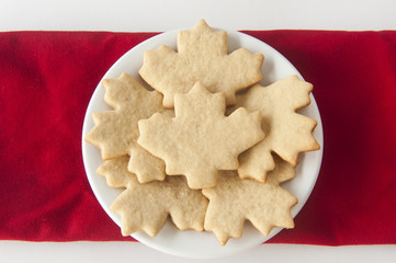 Plate of Maple Leaf Sugar Cookies