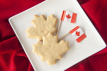 Maple Leaf Cookies with Canadian Flags