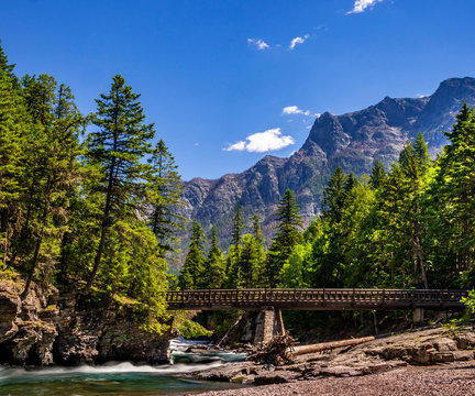 This horse bridge is part of the Johns Lake Loop Trail and spans McDonald Creek in Glacier National Park.