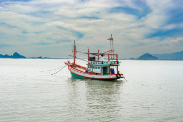 Fishing boat in Thailand at the Gulf of Thailand by South China sea.