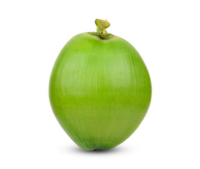 whole green coconut isolated on white background