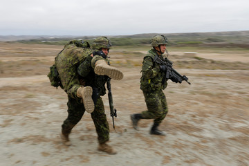 A Canadian soldier with the Royal 22e Regiment carries a simulated casualty as they conduct assault operations during a Rim of the Pacific (RIMPAC) exercise with U.S. Marines at Camp Pendleton
