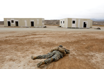 U.S. Marines simulate casualties as they take part in assault operations during a Rim of the Pacific (RIMPAC) exercise with Canadian soldiers from the Royal 22e Regiment at Camp Pendleton