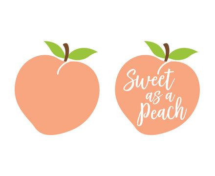 "Peach logo with quote ""Sweet as a Peach"" vector illustration."